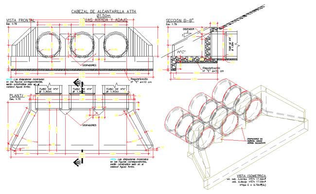 Sewer tubular cross triple plan layout file