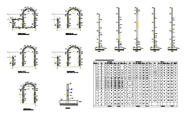 Shear wall section and plan details with all floor framing plan of building dwg file