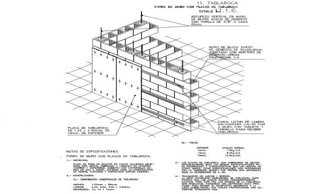 Sheet rock wall with plates detail in autocad dwg files