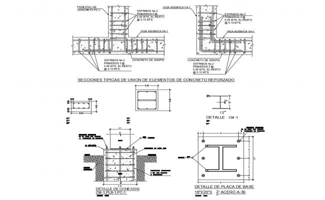 Shoe footing and constructive structure details of building dwg file