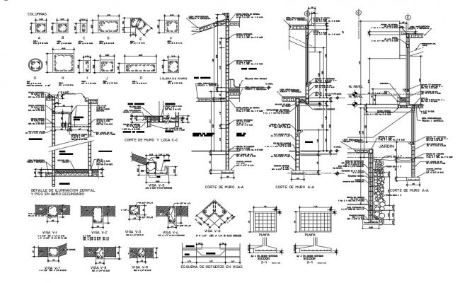 Shoe wall construction details with column cad drawing details dwg file