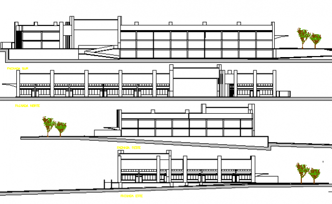 Plan Elevation Section Of Bus Stop : Shopping mall architecture elevation and section plan dwg file
