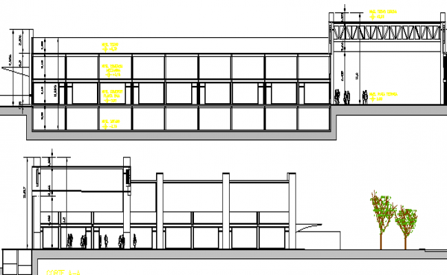 Shopping Mall Architecture Layout and Elevation dwg file