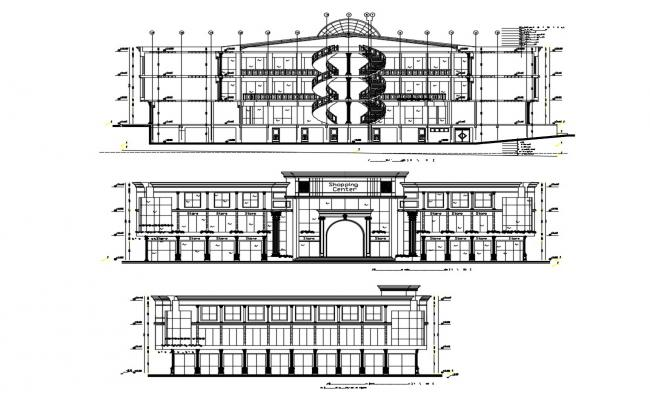 Shopping Mall Plan Elevation Section Free AutoCAD Drawings