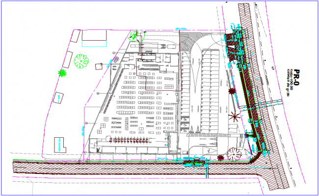 Shopping area with view of super market plan dwg file