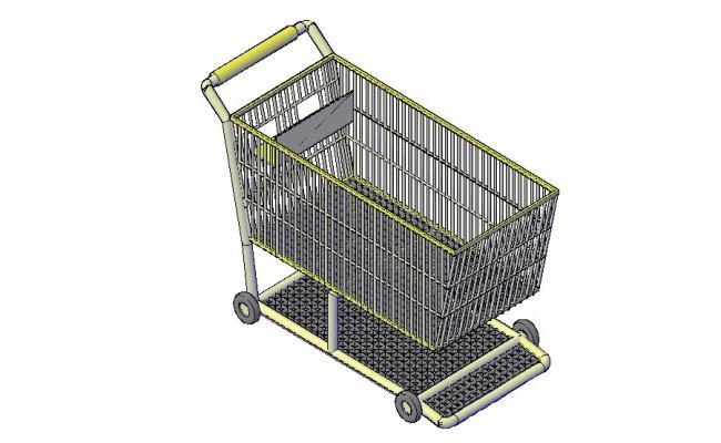 Shopping cart 3d elevation cad block details dwg file