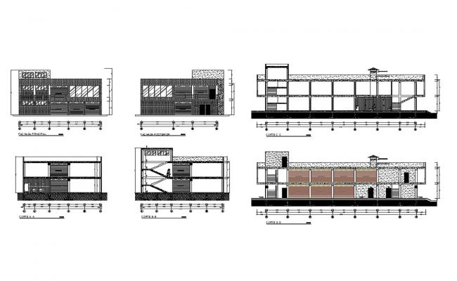 Shopping center all sided elevation and sectional details dwg file