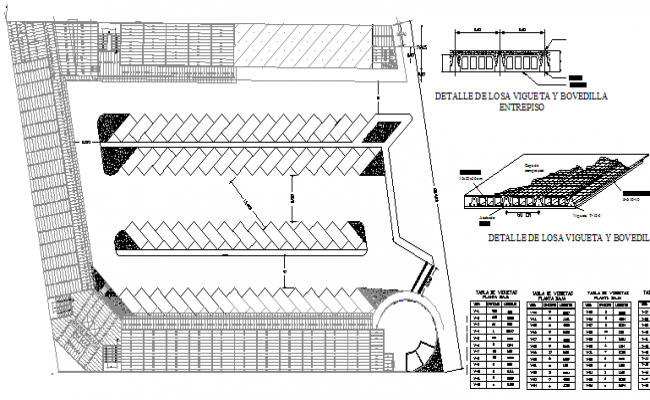 Shopping center architecture project details dwg file