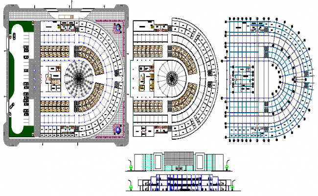 Shopping center elevation, section and floor plan details dwg file