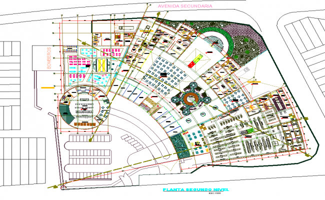 Shopping center in plan dwg file