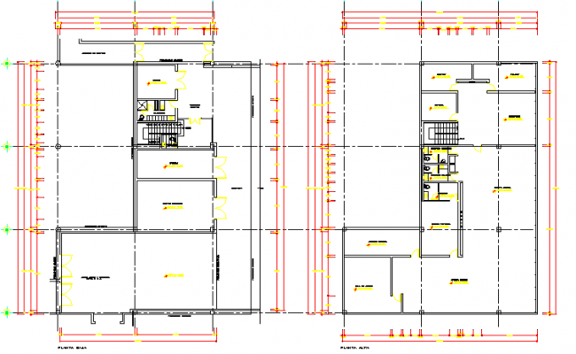 Shopping center structure details of two floors dwg file