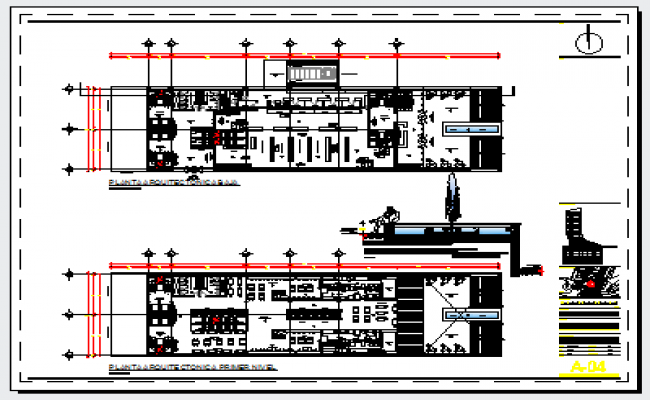 Shopping mall & food zone floor of commercial building design drawing