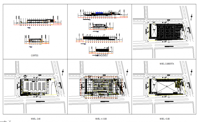 Shopping mall design architecture Plan & Elevation Detail