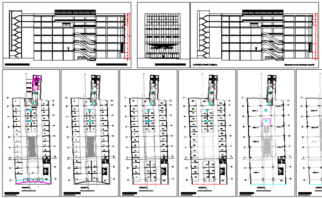 Shopping mall elevation, section and floor plan layout details dwg file