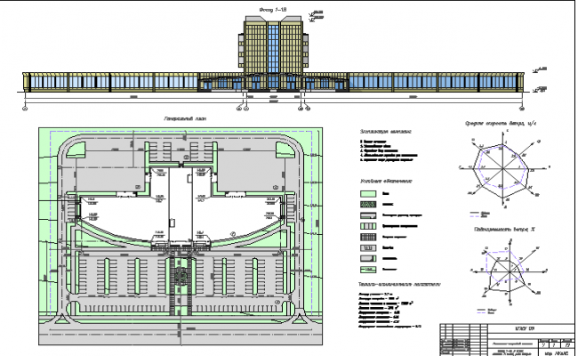 Shopping mall elevation with structural layout plan details dwg file