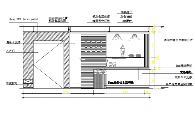 Show case unit front elevation details