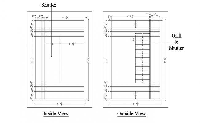 Shutter Door Elevation CAD block Download file