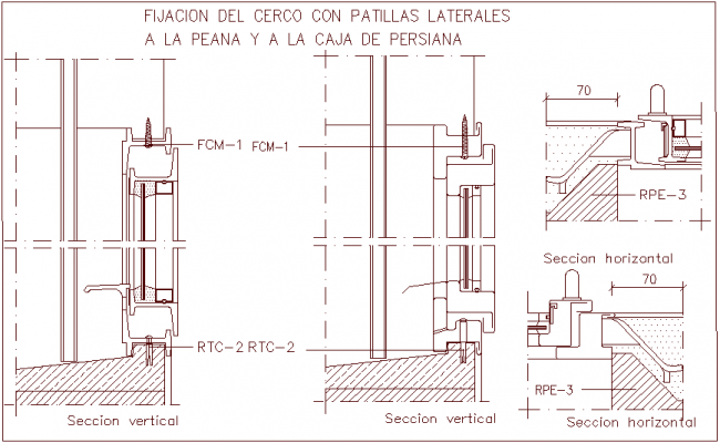 Shutter box view with fixing fence with construction view dwg file