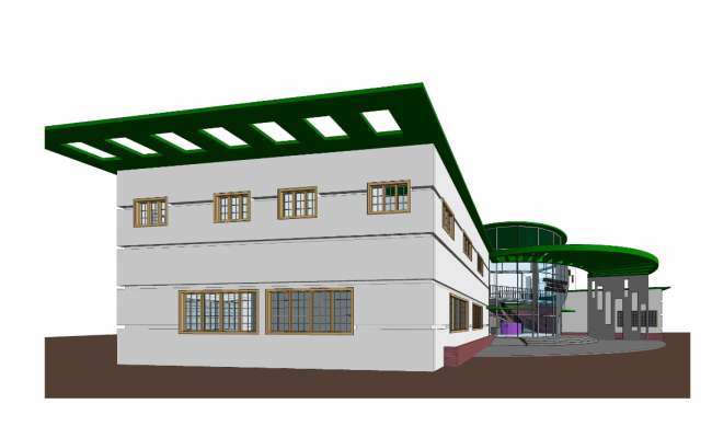 Side 3 D commercial building plan detail dwg file