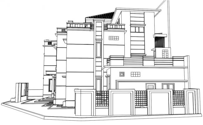 Side 3d View Of Bungalow With Compound Wall Design AutoCAD File