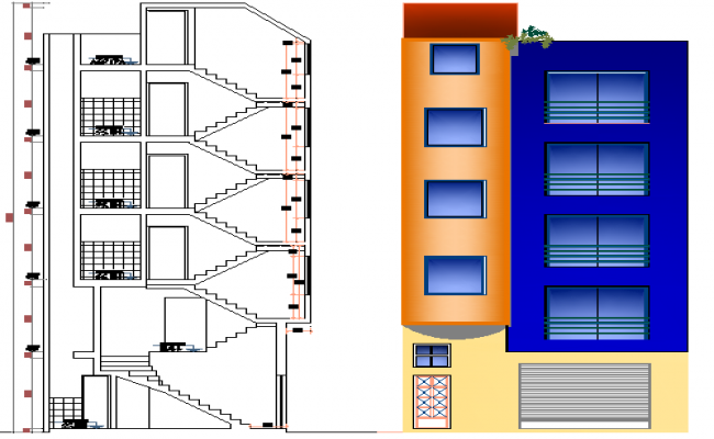 Side elevation and section view of corporation building dwg file