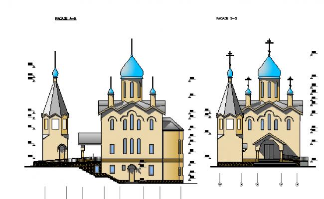 Side elevation design of church