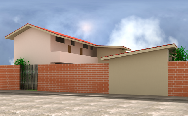Side elevation of brick compound wall layout of college dwg file