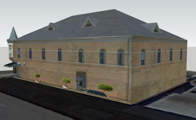 Side elevation of building in 3D
