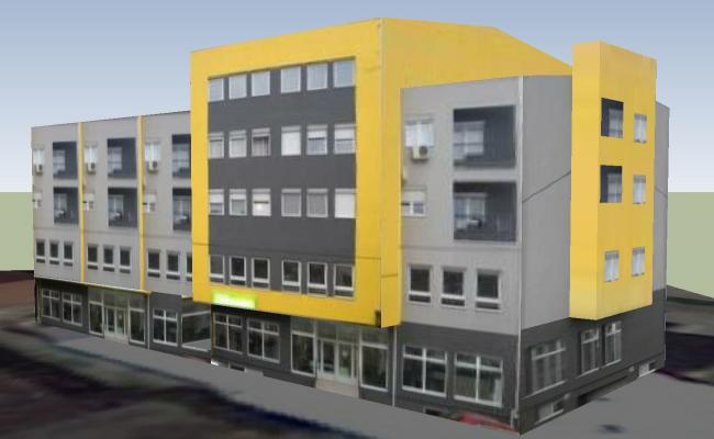 Side elevation of commercial building in 3D