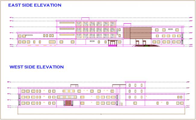 Side elevation of hospital dwg file