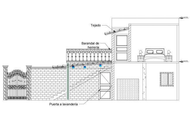 Side elevation of the house with detail dimension in dwg file