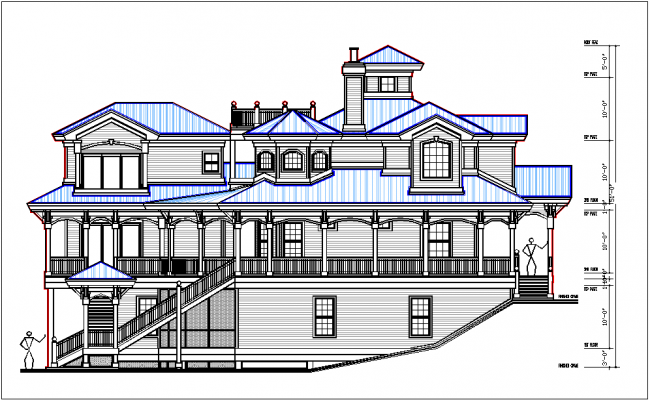 Side elevation view of bungalow view detail dwg file