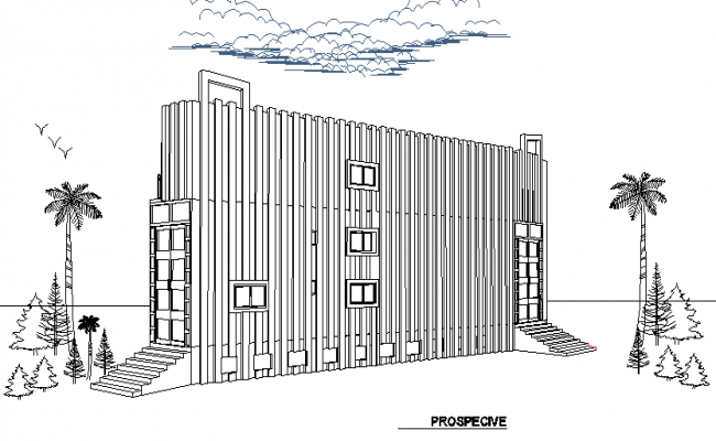 Side elevation view of multi-flooring corporate building dwg file