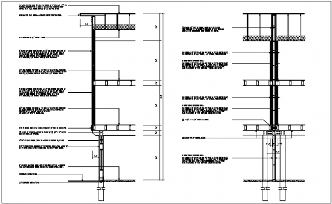 Side section view of building detail dwg file