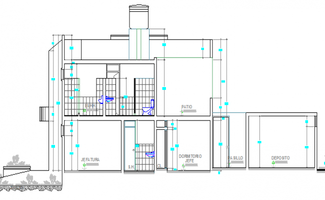 Side sectional details of local civil security office dwg file