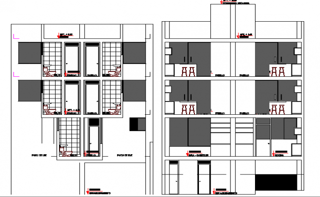 Side sectional view of multi-family residential building dwg file
