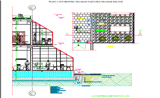 Side sectional view of restaurant with garden cafeteria dwg file