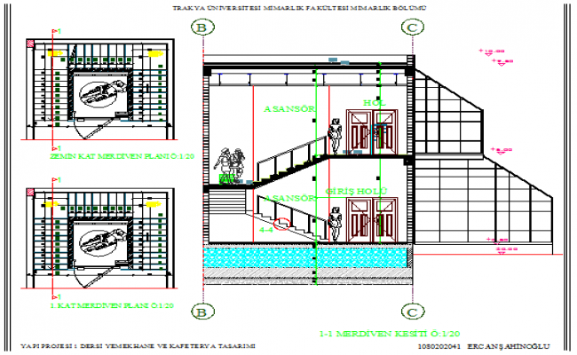 Side sectional view of two-flooring restaurant details dwg file