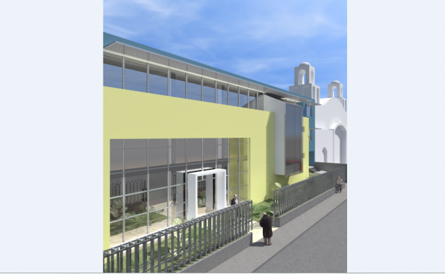 Side view elevation of building