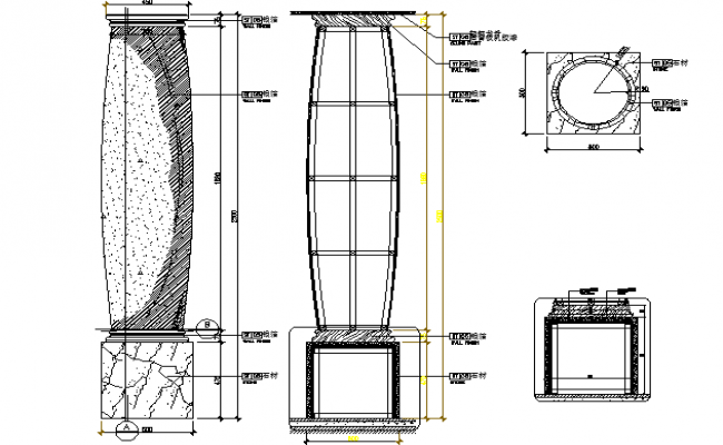 Side view of column and top view layout plan