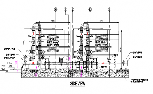 Side view of cooling tower section details