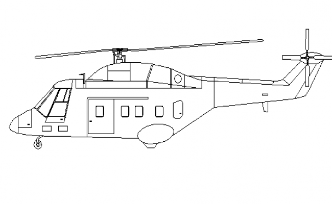 Side view of helicopter dwg file