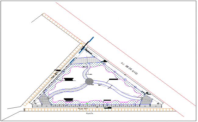 Side walk and indoor staircases details of private garden dwg file