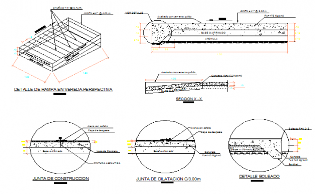 Side walks and ramp construction details dwg file