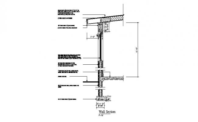 Side wall constructive section cad drawing details dwg file