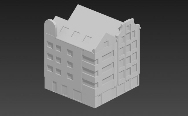 Simple 4 Story Building Elevation 3D MAX File Free