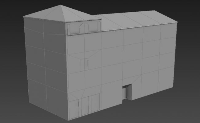 Simple Block Elevation Of Commercial Building 3D MAX File Free