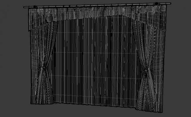 Simple Curtain Hanging Design With Basic Rendered In 3D MAX  File