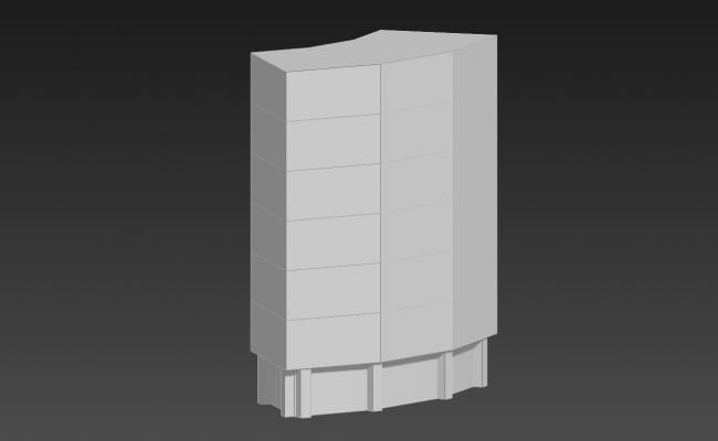 Simple Elevation Of Commercial Building 3D MAX File Free