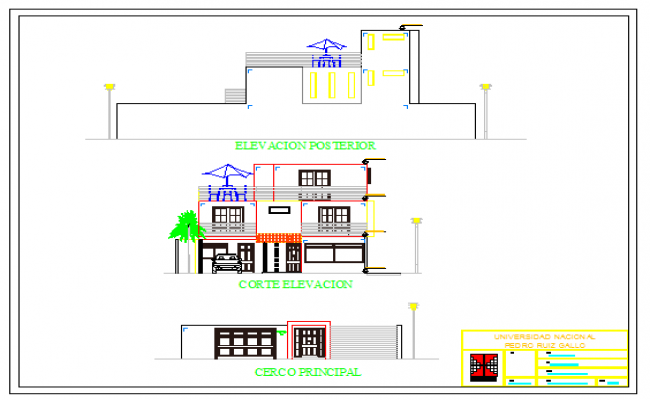 Simple Elevation drawing of  family house design drawing